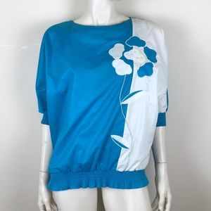 Vintage 80s blue and white batwing ruffle blouse